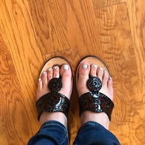 Jack Rogers Patent Leather animal print sandal sz9